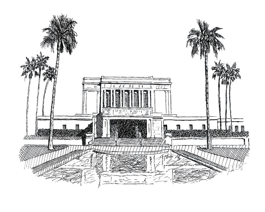 Mesa Arizona Lds Temple Ink Drawing by DSC Arts