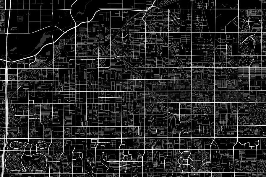 Mesa Arizona Usa Dark Map Digital Art by Jurq Studio