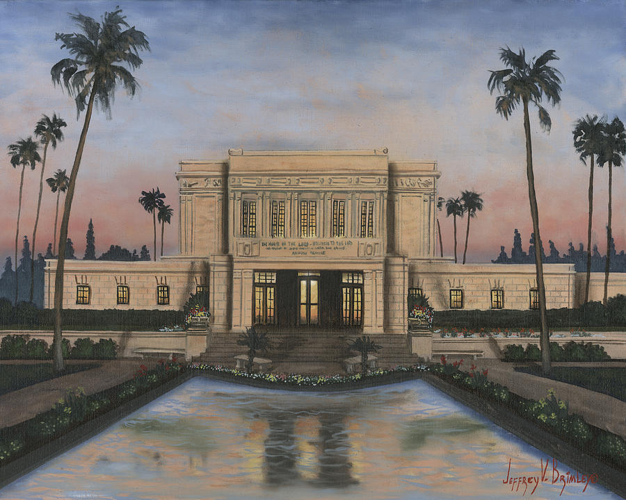 Lds Paintings Painting - Mesa Temple by Jeff Brimley