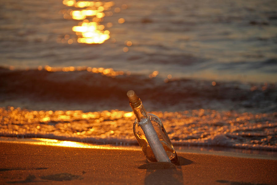 Bottle Photograph - Message Waiting by Maria Dryfhout