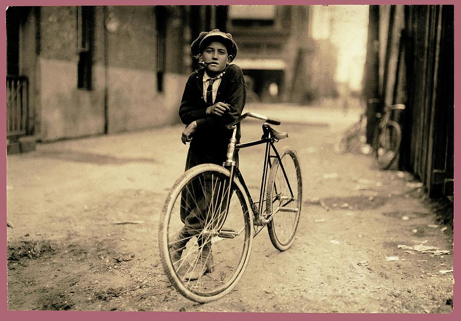 Messenger boy for Mackay Telegraph Co. Lewis Hine photo Waco Texas 1913 color frame added 2016 by David Lee Guss