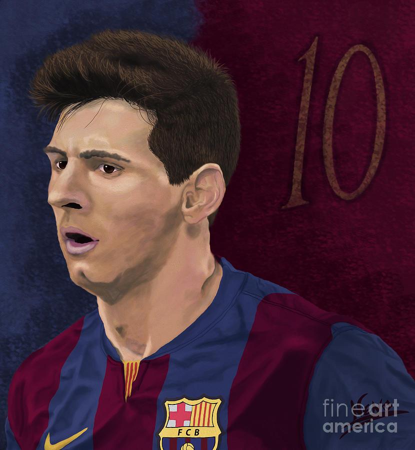 Messi-digital Oil Painting  Painting by Nenad Arsikj