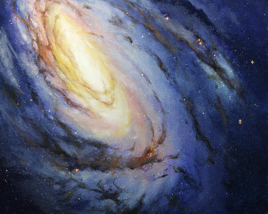 Hubble Painting - Messier 66 by Patty Ray Avalon