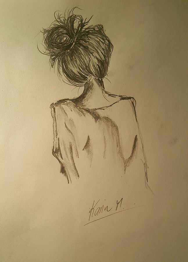 Messy Bun Drawing By Karin Majcen