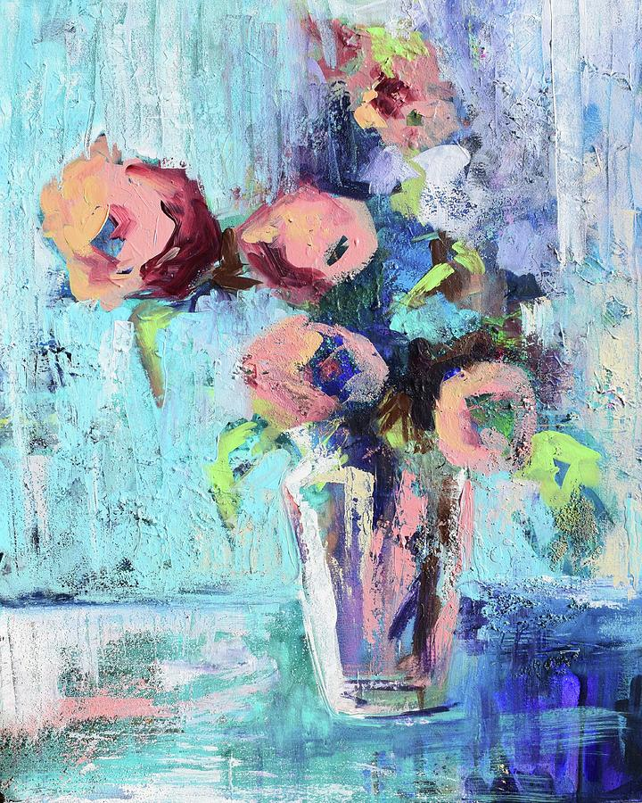 Messy Floral Blues by Karen Ahuja