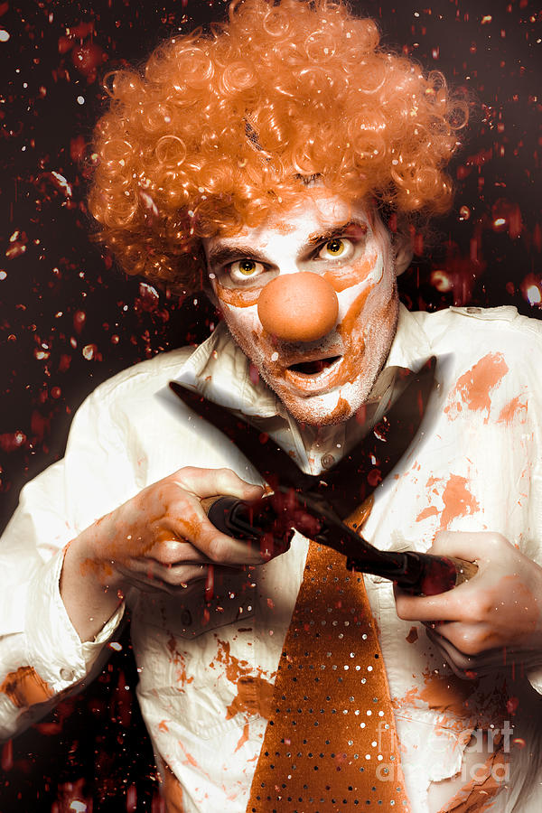 Blood Photograph - Messy Homicidal Clown In Bloody Horror Massacre by Jorgo Photography - Wall Art Gallery