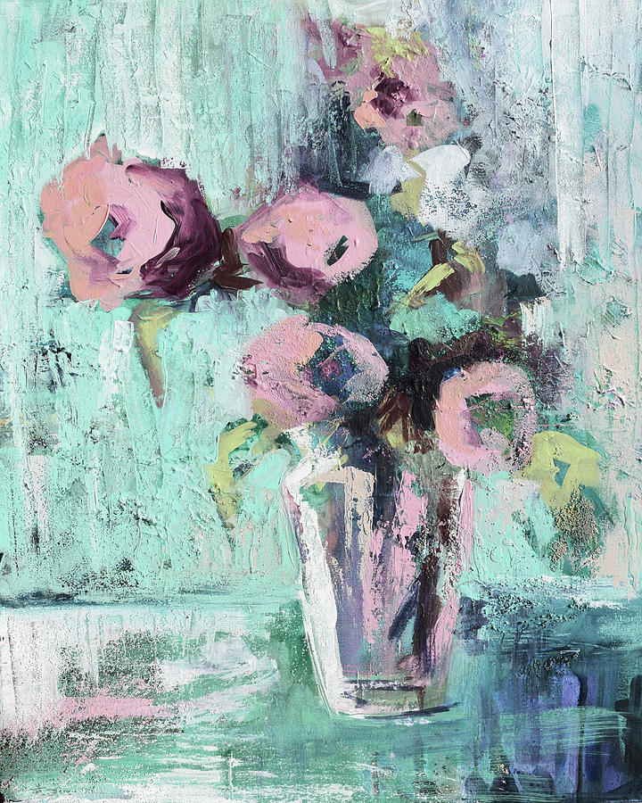 Messy Muted Floral Teal by Karen Ahuja
