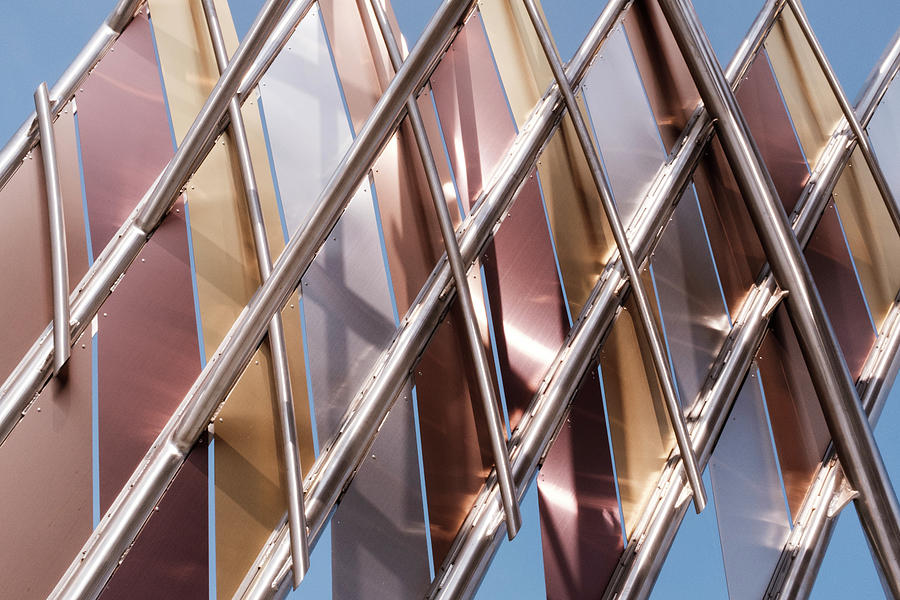Metal Abstract With Lines And Angles In Lansing Michigan by John McLenaghan
