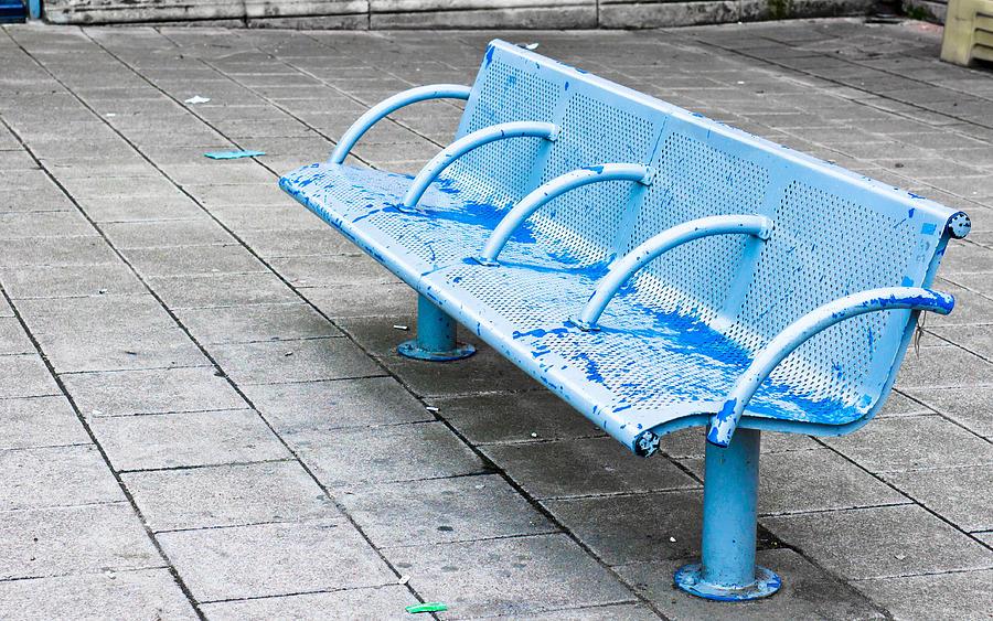Aluminium Photograph - Metal Bench by Tom Gowanlock