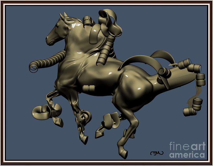 Post-impressionism Digital Art - metal horse statue 38MHS1 by Pemaro