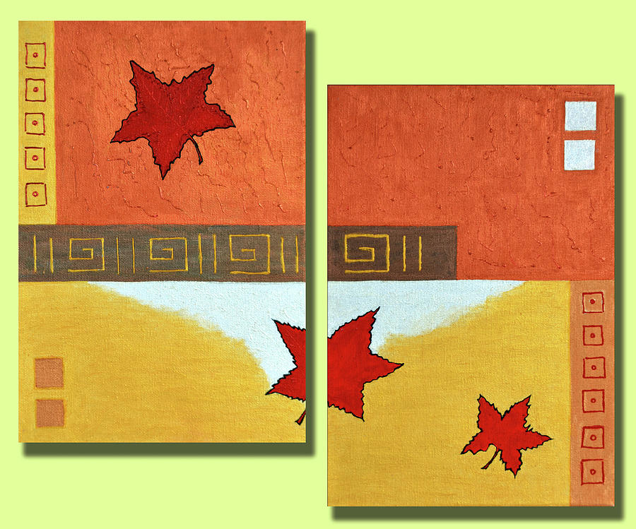 Maple Leaves Painting - Metaleaf -frequently Bought Together by Farah Faizal