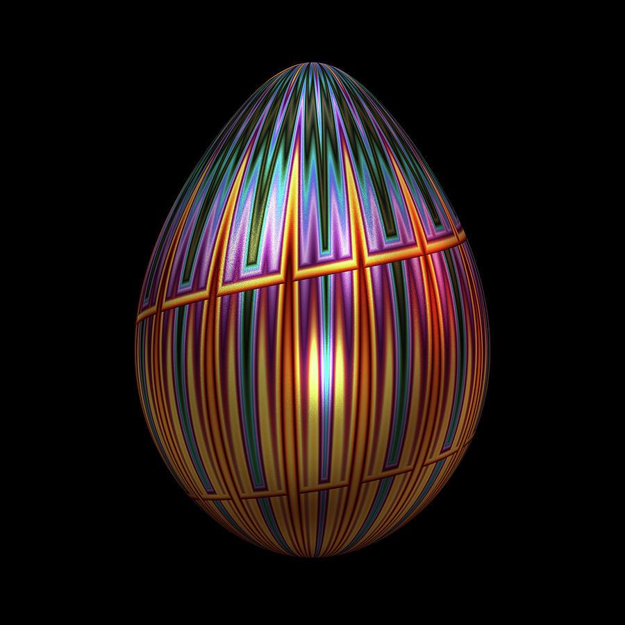Metallic Christmas Egg Digital Art