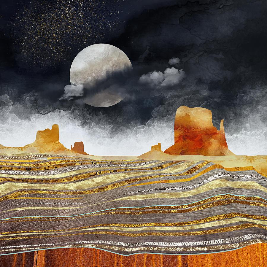 Desert Digital Art - Metallic Desert by Spacefrog Designs