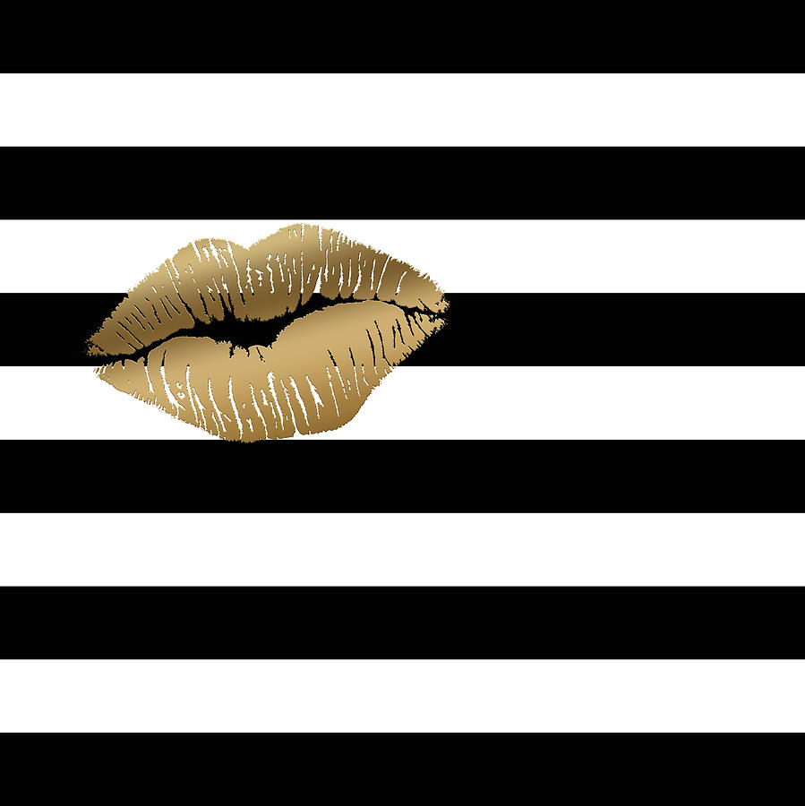 metallic gold lips black and white stripes painting by georgeta blanaru. Black Bedroom Furniture Sets. Home Design Ideas