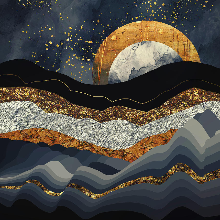 Metallic Digital Art - Metallic Mountains by Katherine Smit