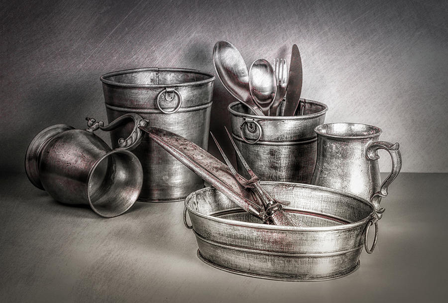 B&w Photograph - Metalware Still Life by Tom Mc Nemar