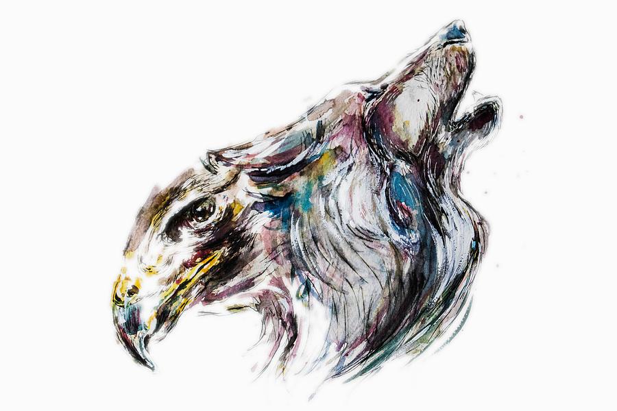 Wolf Painting - Metamorphosis I by Alexandra-Emily Kokova