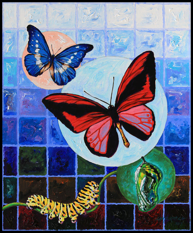 Butterflies Painting - Metamorphosis Of The New Life by John Lautermilch