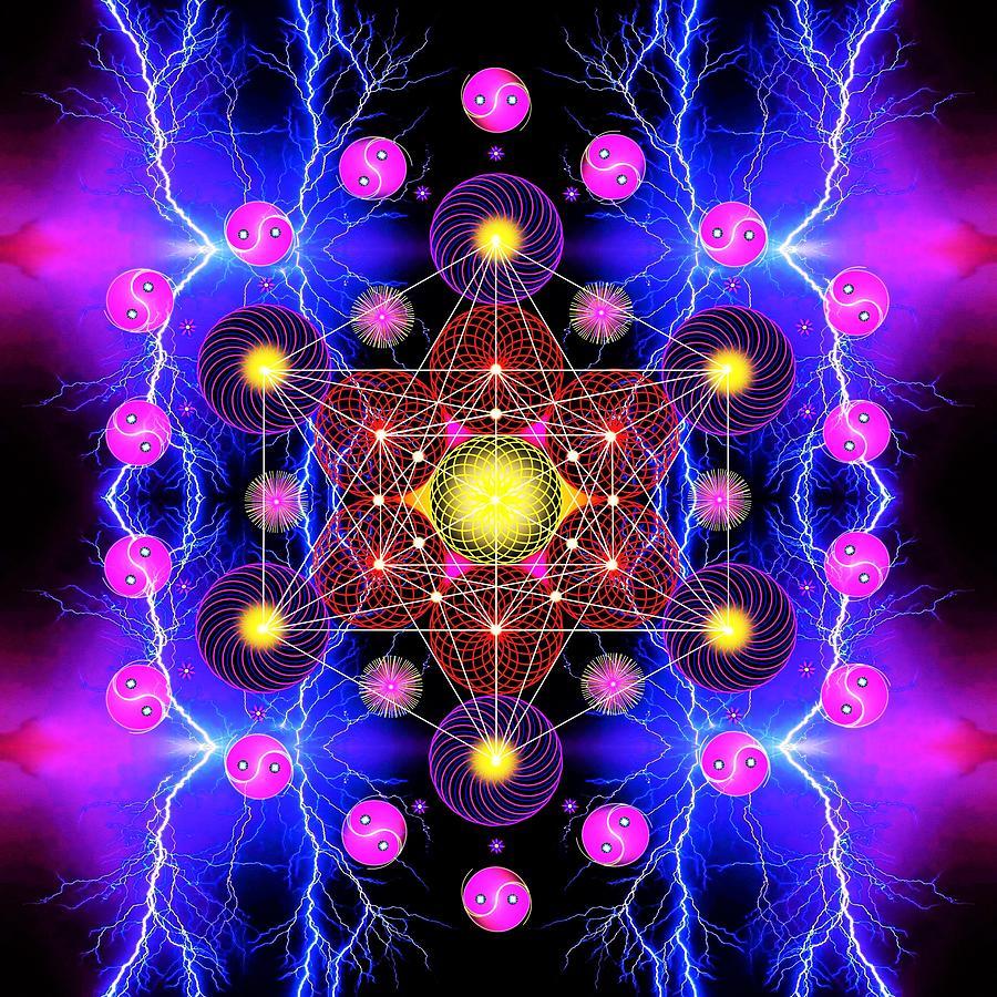 Sacred Geometry Digital Art - Metatrons Cube by The Awakening Art