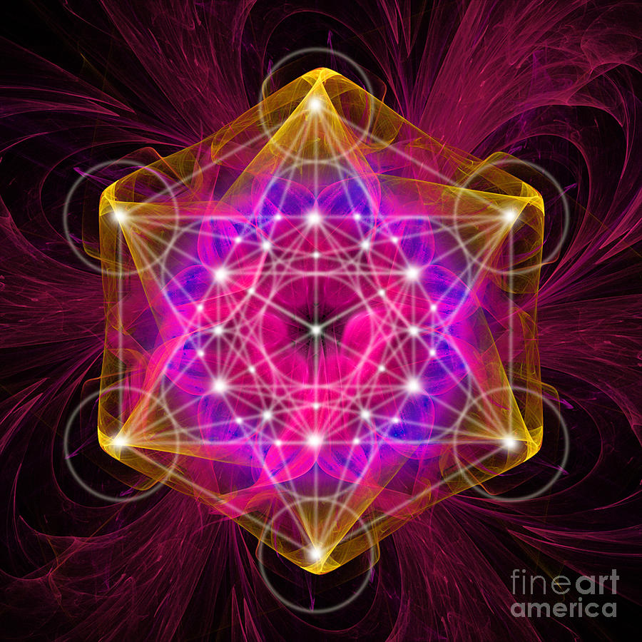 Metatron S Cube With Flower Of Life Digital Art By Alexa