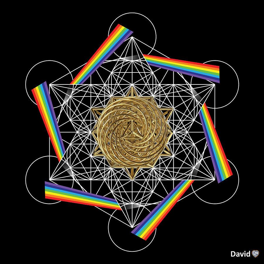 Metatron Digital Art - Metatrons Rainbow Healing Vortex by David Diamondheart
