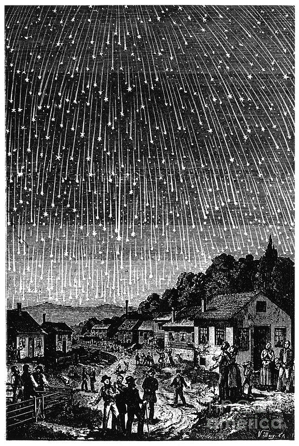 1833 Photograph - Meteor Shower, 1833 by Granger
