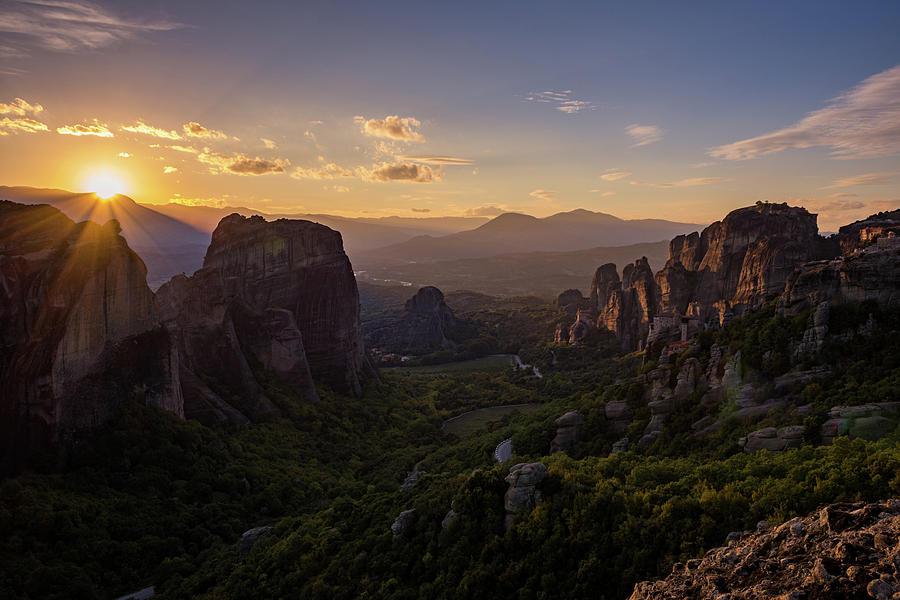 Landscape Photograph - Meteora Sunset by Nikos Stavrakas