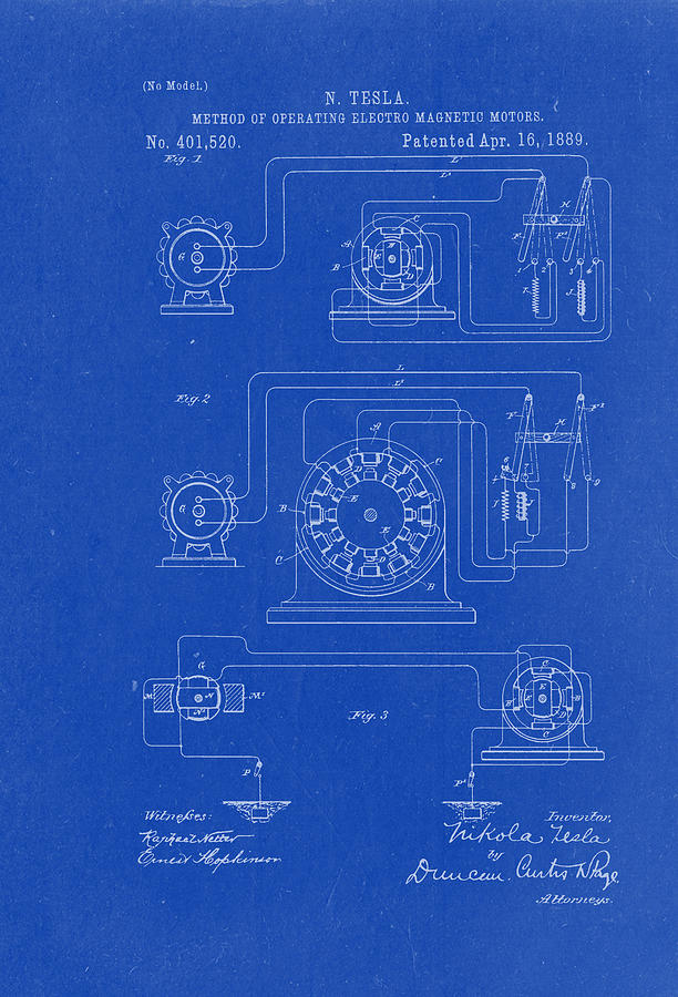 Method Of Operating Electric Magnetic Motors - Nikola Tesla Patent Drawing  From 1889 - Blueprint by Patently Artful