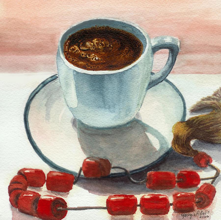 Greek Coffee Painting - Metrios by Georgia Pistolis