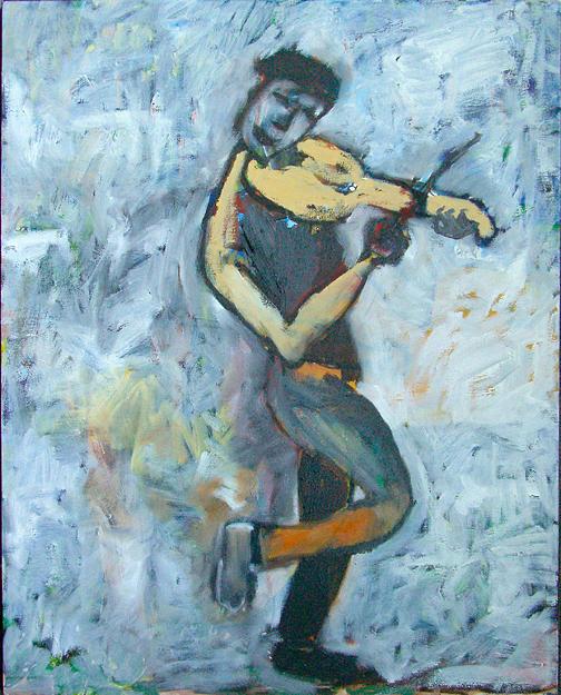 Busker Painting - Metro Musician by Padma Prasad