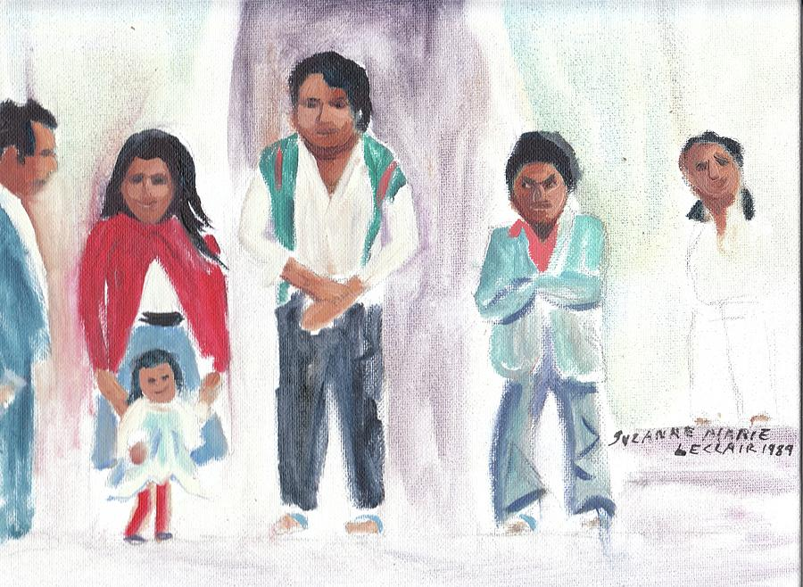 Mexico Painting - Mexican Church People by Suzanne  Marie Leclair