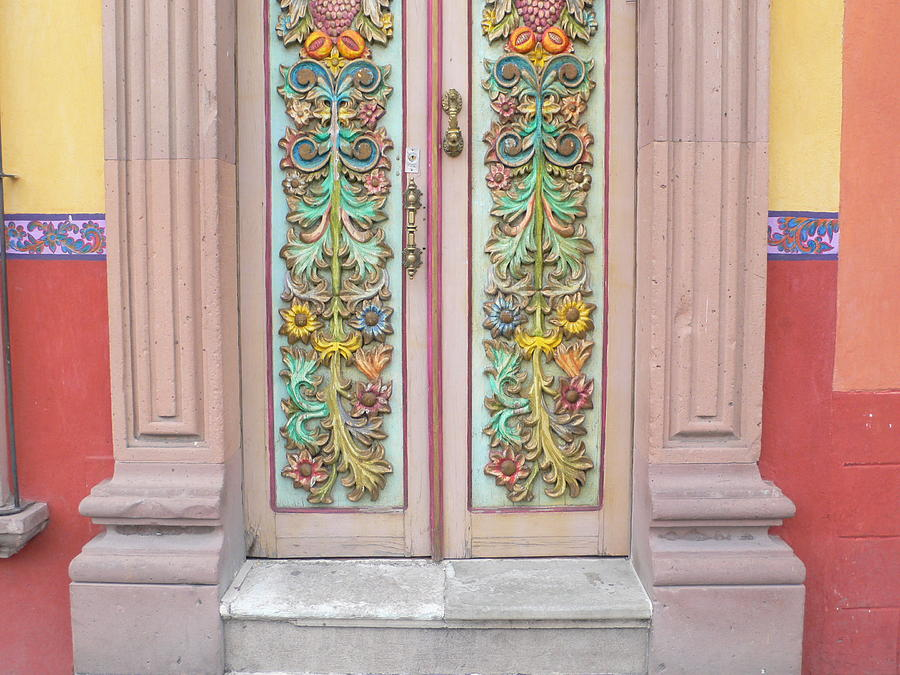 Flowers Photograph - Mexican Doorway 3 by Francine Gourguechon