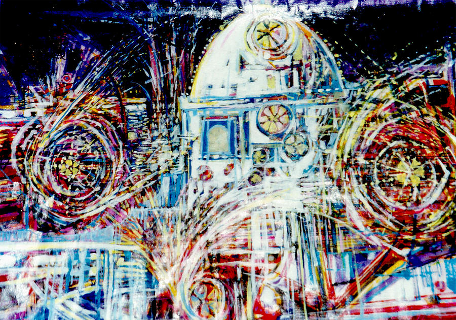 Landscape Mixed Media - Mexican Fireworks by Dale  Witherow