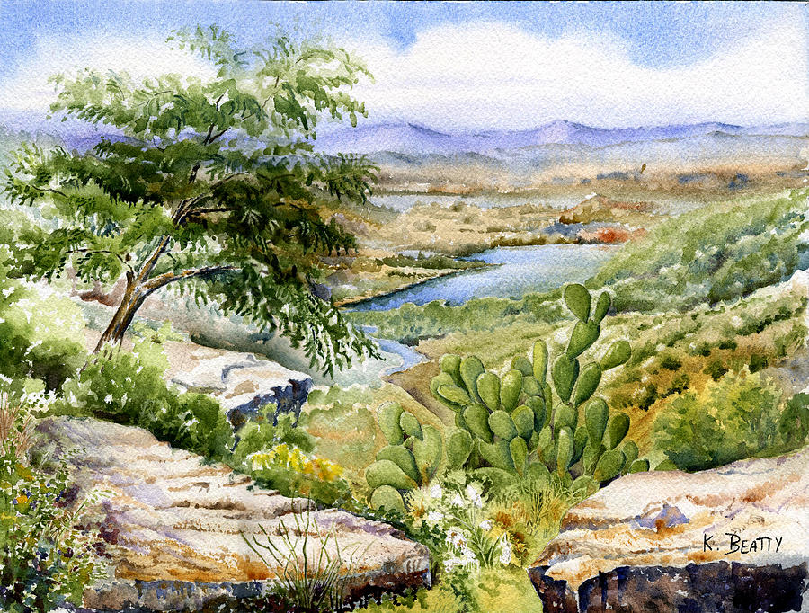 Landscape Painting - Mexican Landscape Watercolor by Karla Beatty