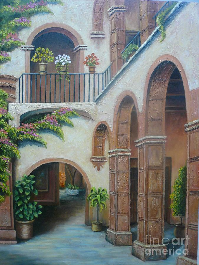 Flowers Painting   Mexican Patio By Maru Bautista