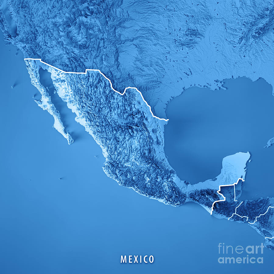 Mexico 3d Render Topographic Map Blue Border