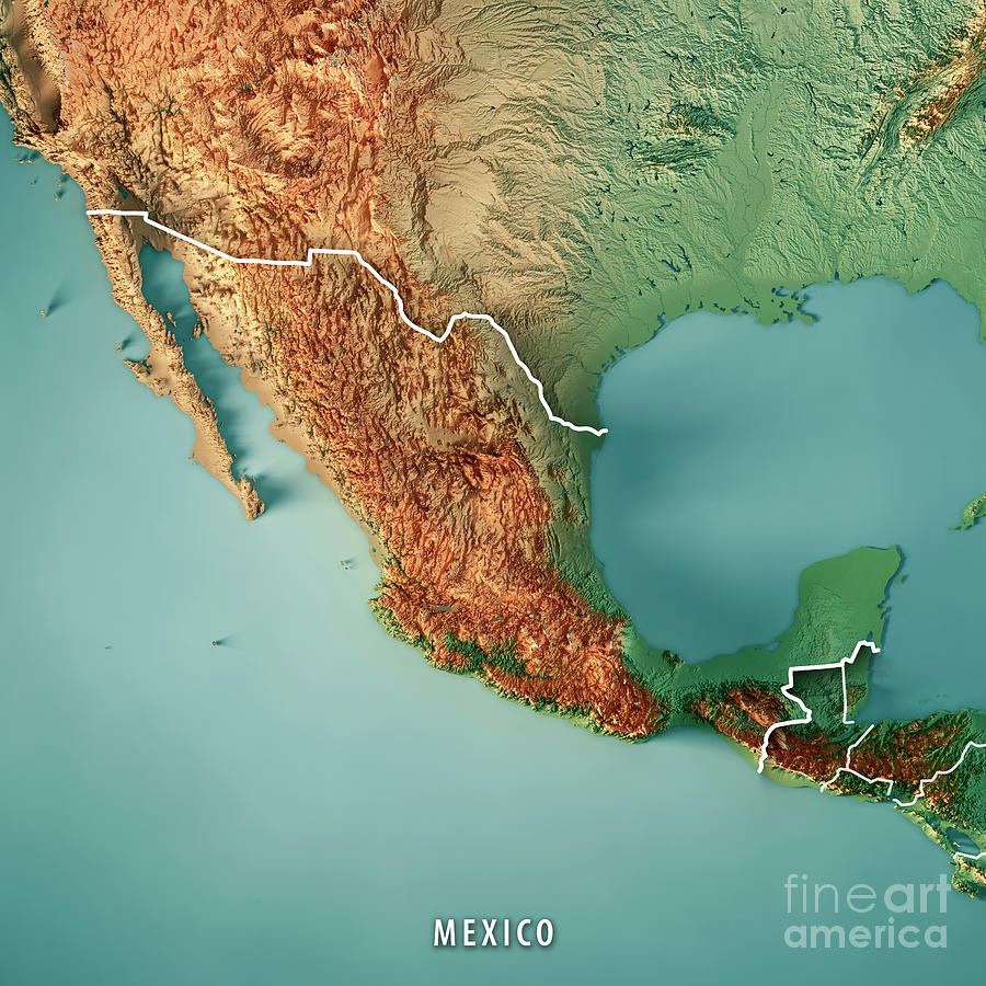 Mexico 3d Render Topographic Map Border
