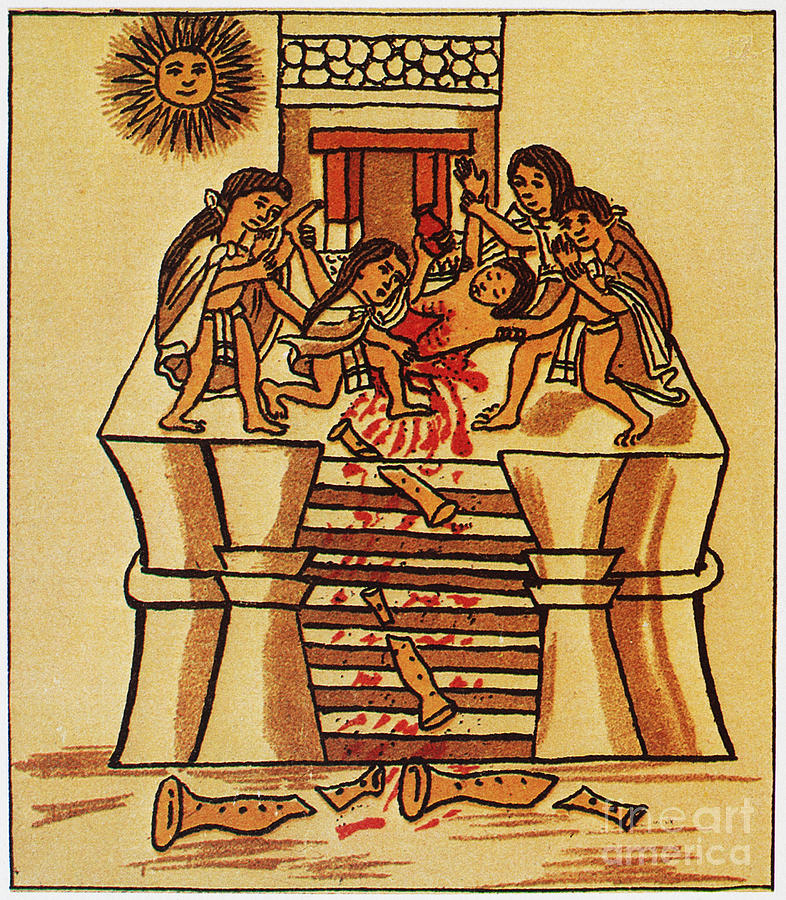 16th Century Photograph - Mexico: Aztec Sacrifice by Granger