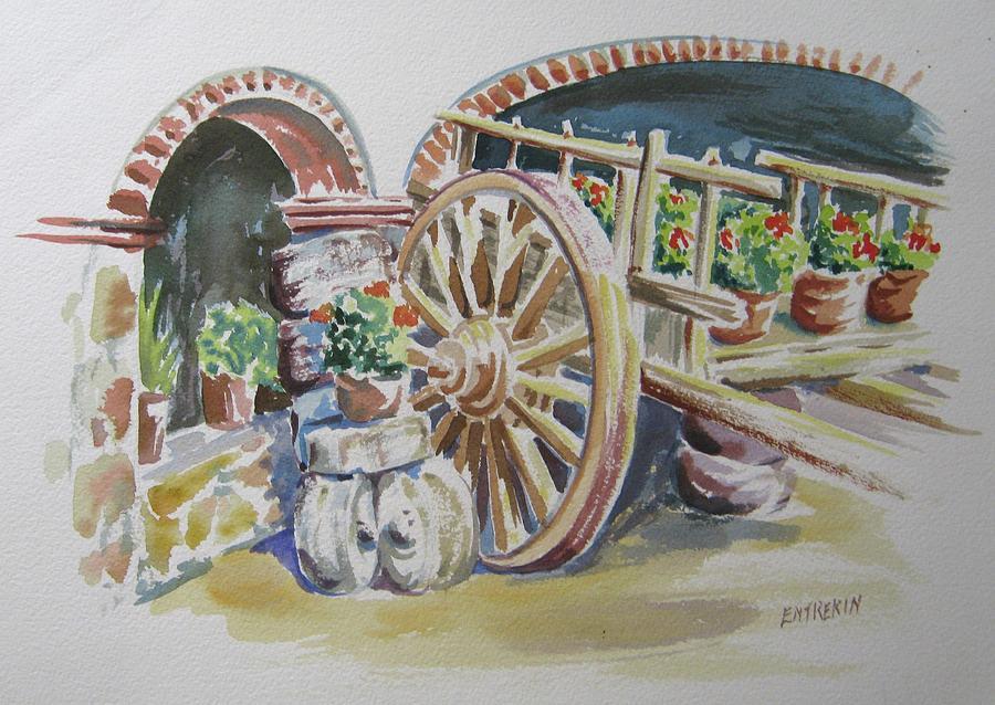 Watercolor Painting - Cart in Mexico by John Entrekin