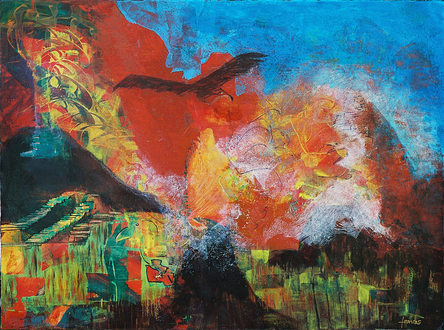 Painting Acrylics Figurative Mexico Pyramids Eagle Volcanoes Landscape Earth Sky Modern Colorful Painting - Mexico by Frances Bourne