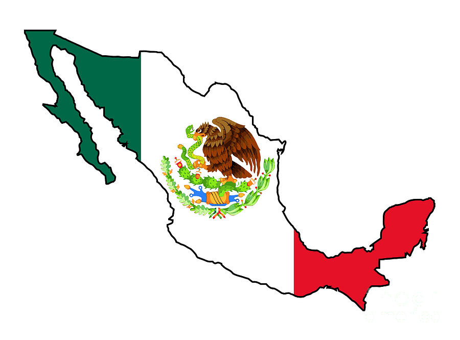 Mexico Map Outline And Flag Digital Art by Bigalbaloo Stock