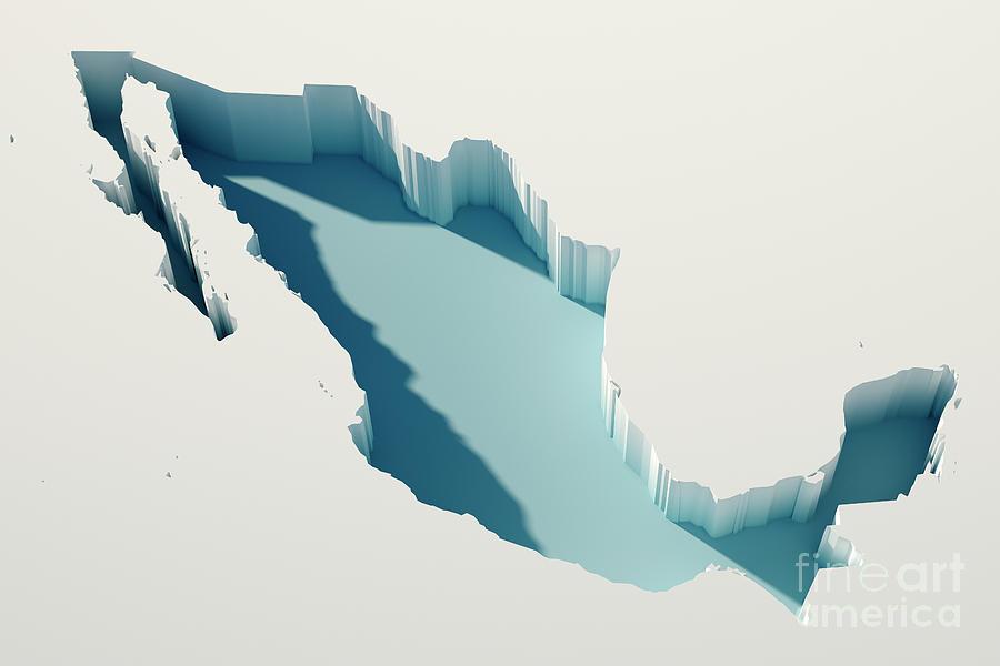 Mexico Simple Intrusion Map 3d Render Digital Art By Frank Ramspott