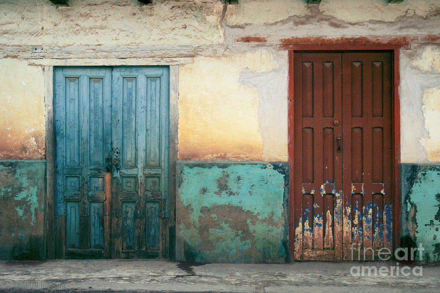 Mexico Street Abstract Photograph Mexican Blue And Red