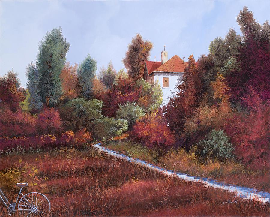 Landscape Painting - Mezza Bicicletta Nel Bosco by Guido Borelli