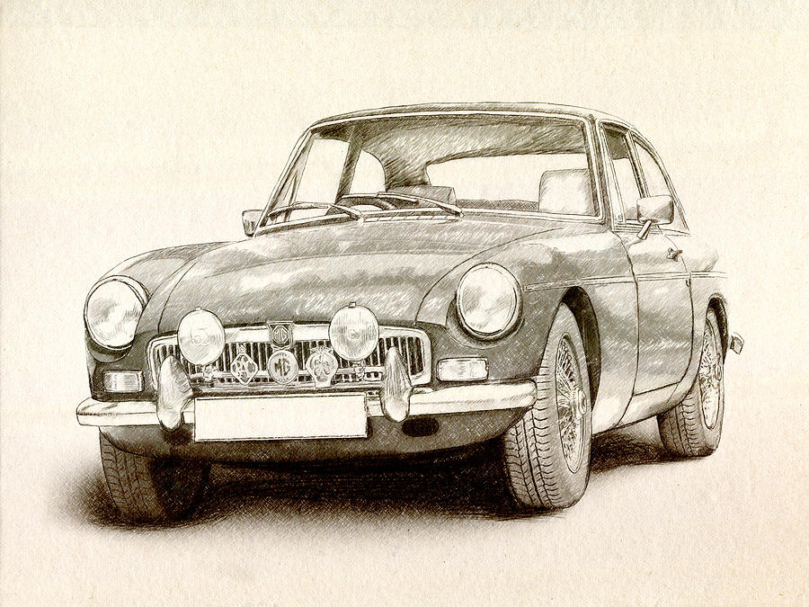 Mg Mgb Drawing - Mg Mgb Mkii by Michael Tompsett
