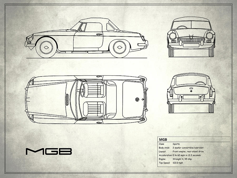 Mgb Blueprint - White Photograph by Mark Rogan