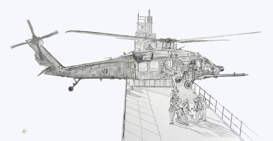 Helicopter Drawing - Mh-60 At Work by Nicholas Linehan