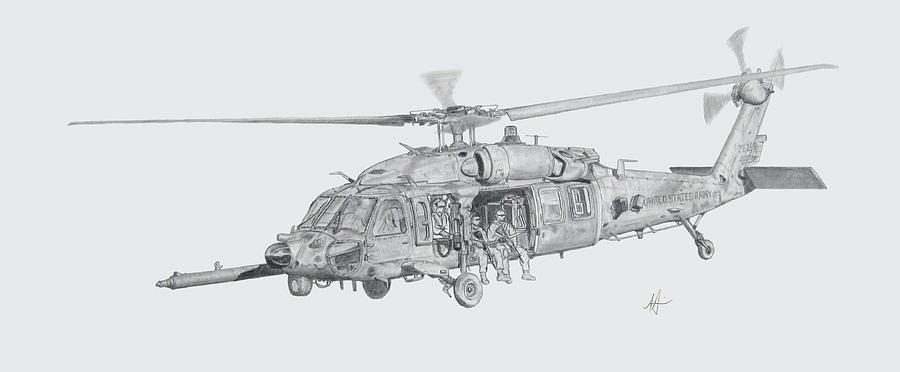 Mh-60 Drawing - Mh60 With Gun by Nicholas Linehan