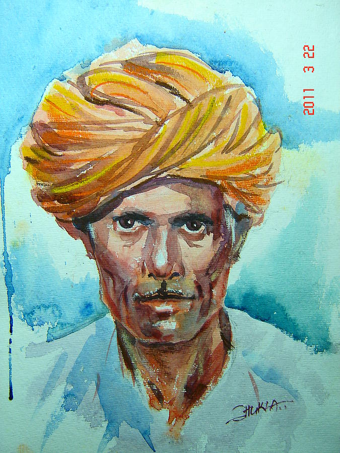 Watercolor Painting - Mharo Rajasthani Bhaya by Prafulla B Shukla