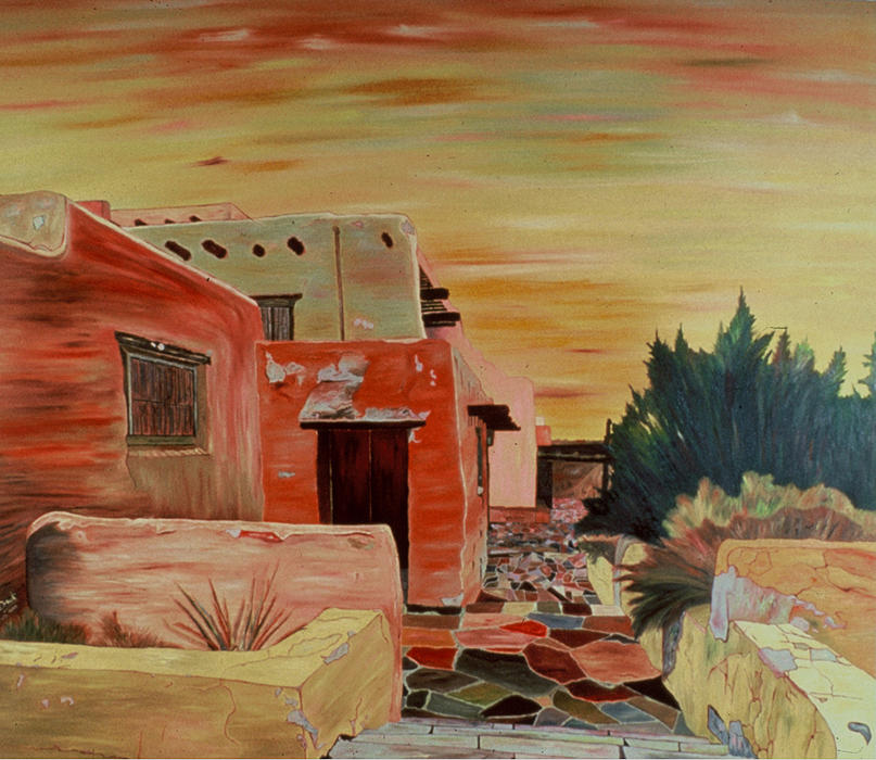 Landscape Painting - Mi Casa by Oudi Arroni